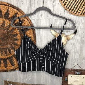 Cropped black & white striped shirt